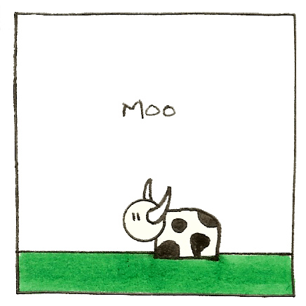 comic cow that says moo
