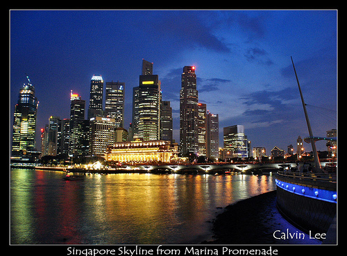 singapore skyline seen from Marina Promenade by Calvin Lee