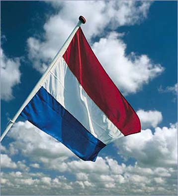 dutch flag, with sheep clouds behind it