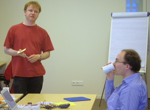 Rob and Marc during the brand name brainstorming session
